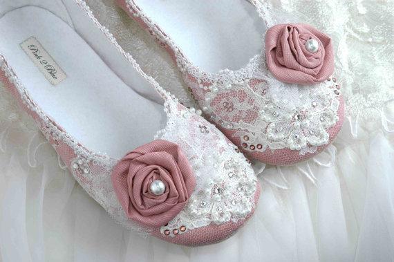Mariage - Wedding Shoes - Rose Bridal Ballet Flat, Vintage Lace, Swarovski Crystals, Pearls, Custom Made Women's Bridal ShoesFrom pink2blue