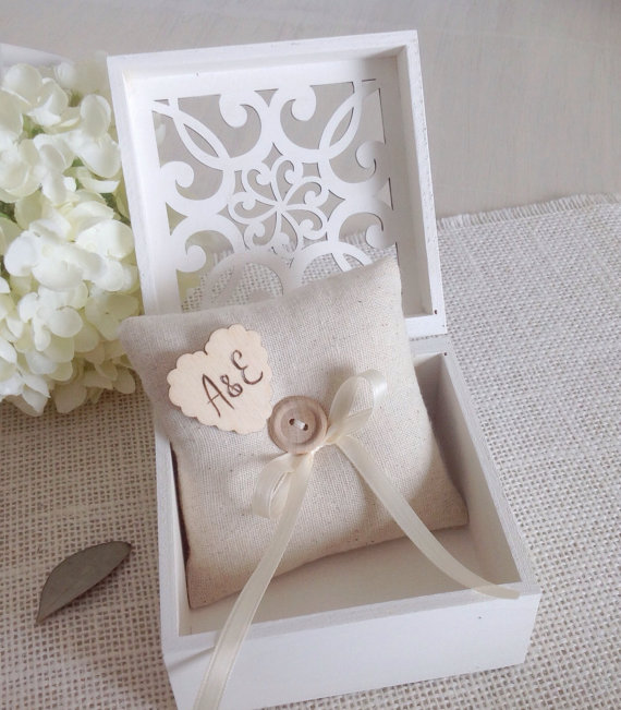 Ring Bearer Box With Personalized Ring Pillow White Or Ivory Wood