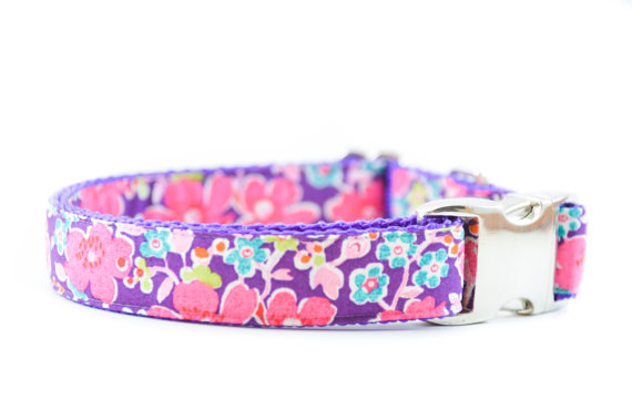 Mariage - Liberty London Dog Collar - Tana Lawn John Purple and Pink Floral Girly Dog Collar for Weddings and Everyday Wear