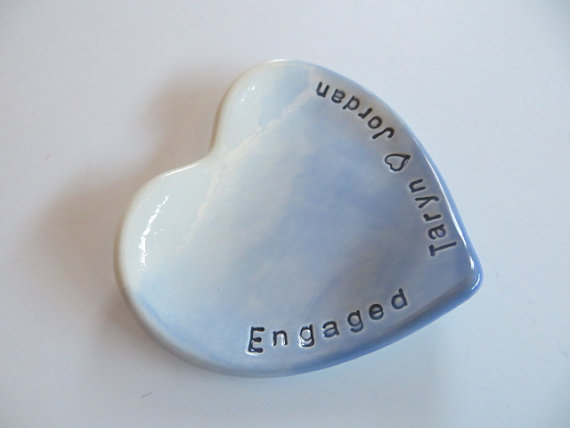 Свадьба - Engagement Gift, ring dish, wedding ring holder, Powder Blue OMBRE, handmade pottery, Gift Boxed, Made to Order