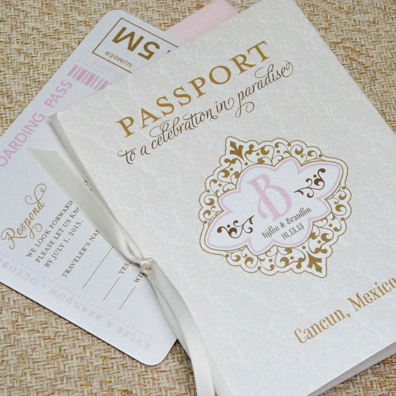 زفاف - Vintage Monogram Passport Wedding Invitation (Cancun, Mexico) - Design Fee