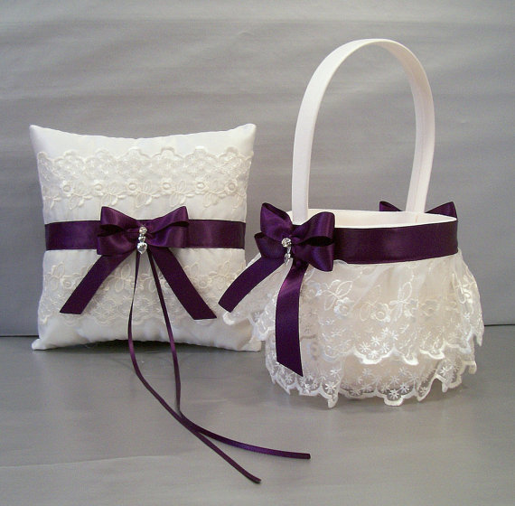 Mariage - Plum Purple, Wedding Bridal, Flower Girl Basket and Ring Bearer Pillow Set on Ivory or White ~ Double Loop Bow & Hearts Charm ~ Allison Line