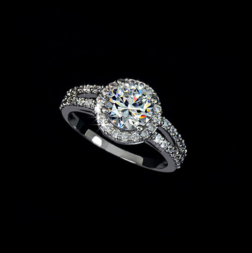Свадьба - Round Halo Ring 2 Carat Round Cubic Zirconia Two Row Pave Engagement Ring Wedding Ring Accent Ring , AR0021