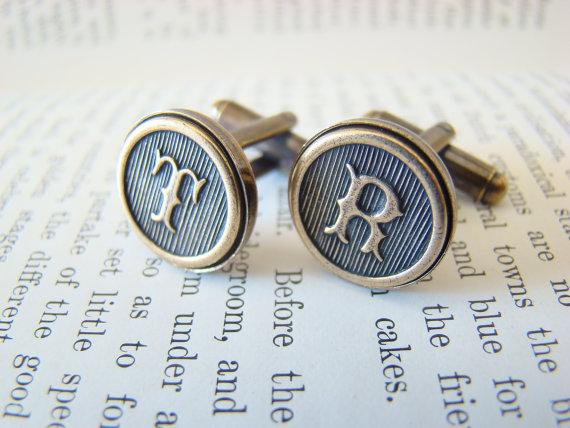 Свадьба - Custom Initial Cufflinks, Wedding Cufflinks, Groomsmens Gifts, Made to Order - Antiqued Brass