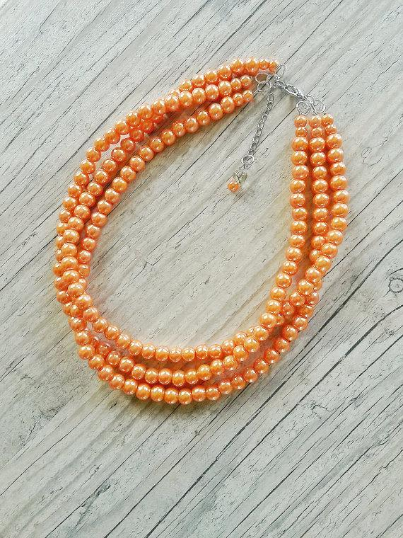 Wedding - Orange pearl necklace,bridesmaids orange necklace,Tangerine necklace,Bridesmaids gift,Bridal orange jewelry,Orange wedding,Three strand