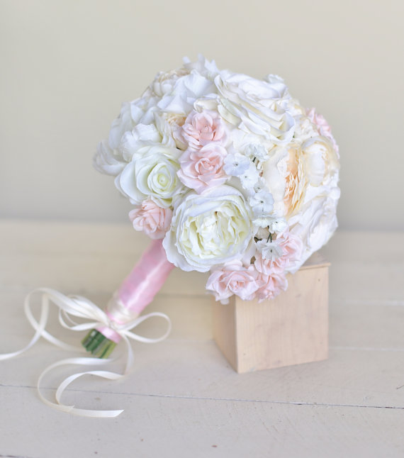 Mariage - Silk Bridal Bouquet Pink Roses Baby's Breath Rustic Chic Wedding NEW 2014 Design by Morgann Hill Designs