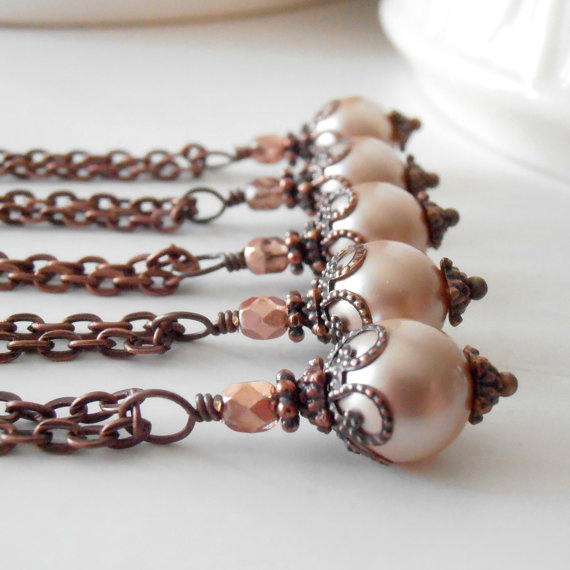 Mariage - Blush Pink Bridesmaid Jewelry Sets Pearl Pendant Necklace Rustic Style Weddings Bridesmaids Necklaces Beaded Jewelry Bridal Jewelry Vivianne
