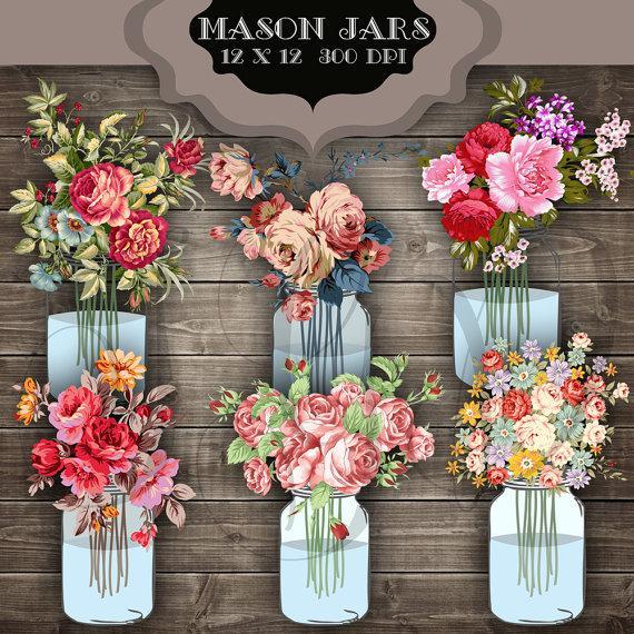 Свадьба - Wedding Clip Art Mason Jar Bouquet Digital Clipart - Vintage flower jar transparent background for scrapbooking, invitations, bridal shower
