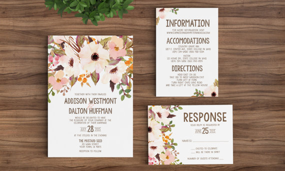 Printable Rustic Bohemian Floral Wedding Invitation Template – Fall or Winter Theme Invitation Cards