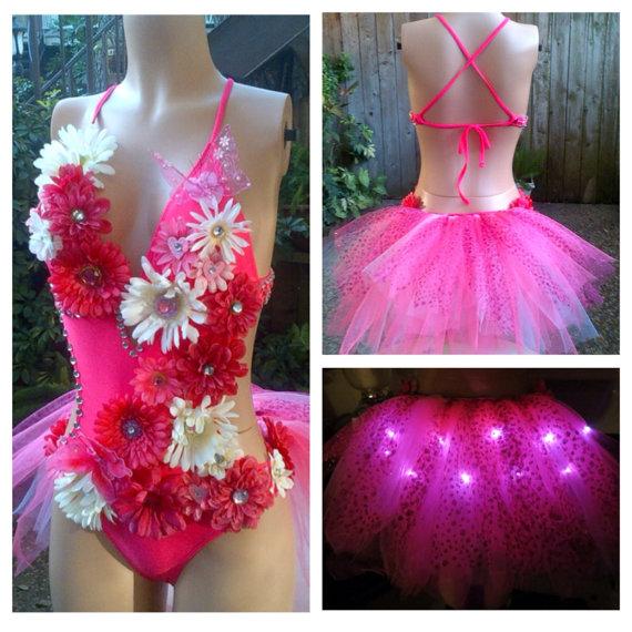 Mariage - Electric Daisy Led Butterfly Rhinestone Pinki or White Fairy Monokini Rave Bra  , EDC  Outfit
