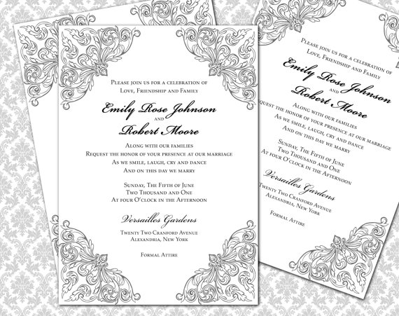 diy wedding invitation printable template  5x7 invitation   2295980
