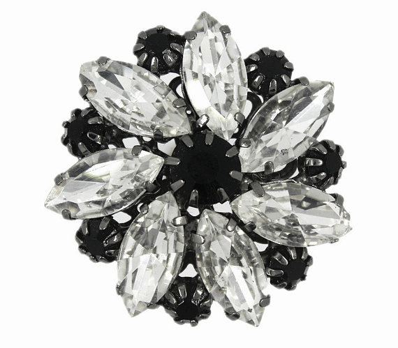 Mariage - Black and Transparent Czech Crystal Claw Prongs Flower Metal Shank Buttons - 38mm - 1 1/2 inch - 1 piece