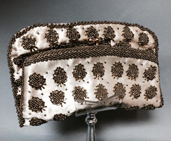 Mariage - HANDMADE Vintage 1950's 1960's Gold BEADED Satin Clutch Bag WEDDING Purse Looks like Bugs!