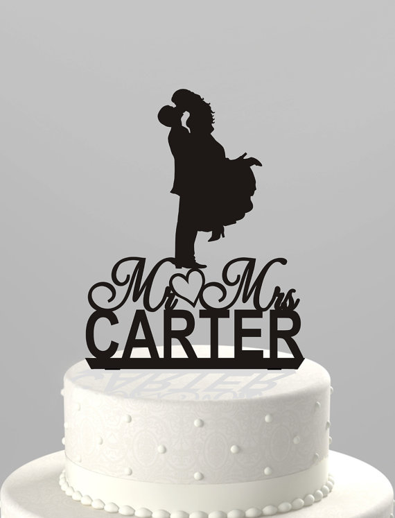 Wedding Cake Topper Silhouette Couple Mr Mrs Personalized With Last Name Acrylic CT30mm