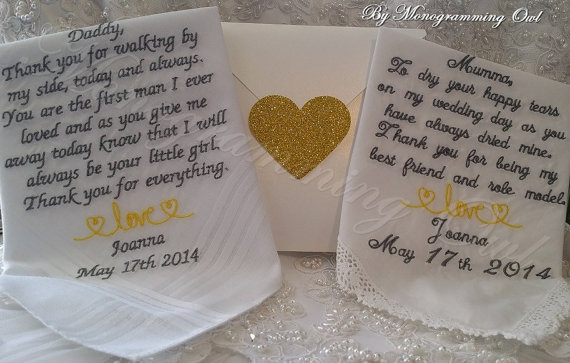 Wedding Gift For Mom And Dad : Dad Personalized Wedding Handkerchief. Gift for the Mother and Father ...
