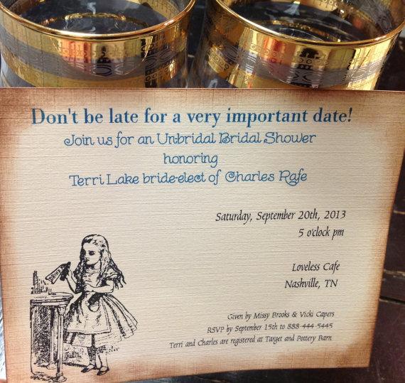 alice in wonderland bridal shower invitation wedding shower invitation fairytale weddings