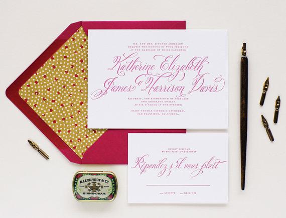 Свадьба - Grotto Letterpress Wedding Invitation Sample - Calligraphy Script Letterpress Invitations - Flat Print or Letterpress Wedding Invitations