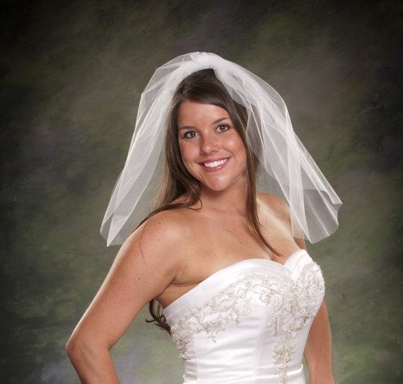 Mariage - Tulle Bridal Veil Shoulder Length 20 Tulle Wedding Veil Short 1 Tier Veil White Tulle Veils Ivory Bridal Veils Diamond White Veils