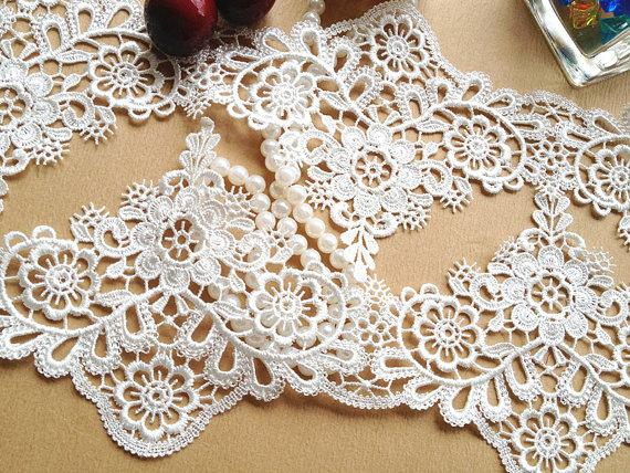 Wedding - White Venice Lace Lolita Embroidery Lace Trim  for Wedding Dress Accessories, Costume Design