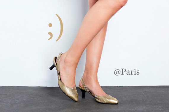 e552c673e4bd Sale 30% off Women gold slingback sandals - kitten heel golden shoes - Last  sizes FREE SHIPPING - Handmade by ImeldaShoes