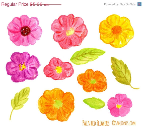 Wedding - Clipart SALE Watercolor Flowers Clip Art - Hand Painted wild roses flowers clip art