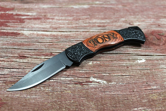 Свадьба - Personalized Knife,Engraved Knife,Groomsmen Gift,Best Man Gift,Hunting Knife,Survival Knife,Fishing Knife,Pocket Knife,LARGE BLACK