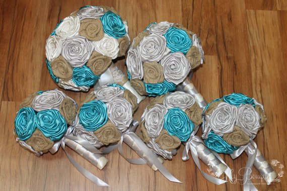 Свадьба - DEPOSIT, Turquoise, Silver, Ivory, & Burlap Bouquet Package, Turquoise Bouquet, Rustic Bouquet, Rustic Theme, Country Theme, Farmhouse Theme