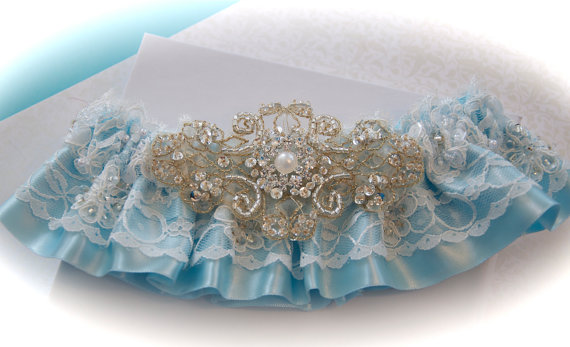 Mariage - Regal Jeweled Wedding Garter in Beaded Alencon and Satin Underskirt