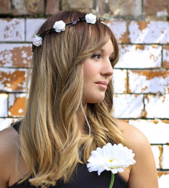 white black leaf floral crown festival halo flower girl