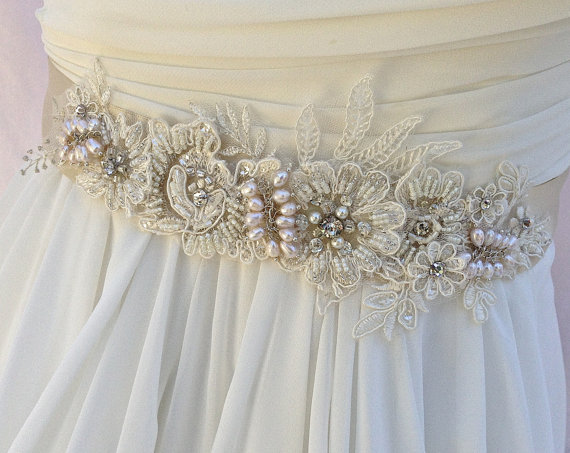 Hochzeit - Bridal Sash, Wedding Sash in Pale Champagne And Ivory  With Lace, Crystals and Cultured Pearls, Rhinestones, Bridal Belt, COLOR CHOICES