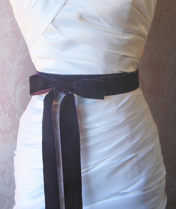 Mariage - Dark Purple Velvet Ribbon, 1.5 Inches Wide, Eggplant Ribbon Sash, Aubergine Bridal Sash, Wedding Belt, 4 Yards