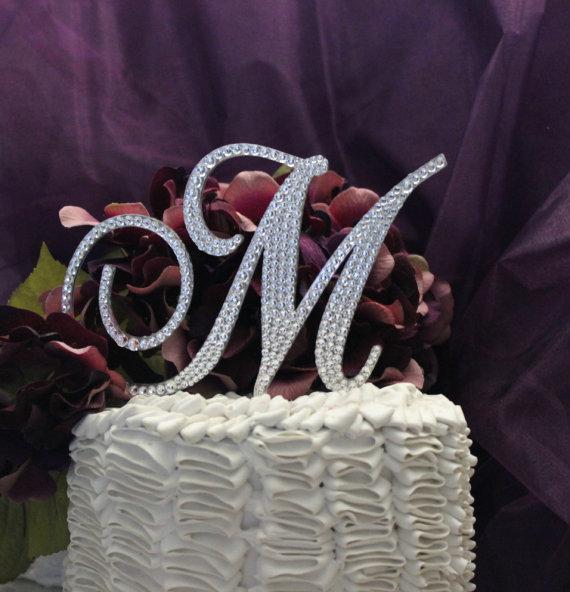 "Wedding - Monogram Cake Topper 5"" Swarovski Crystal Wedding Cake Topper Initial in any letter A B C D E F G H I J K L M N O P Q R S T U V W X Y Z"