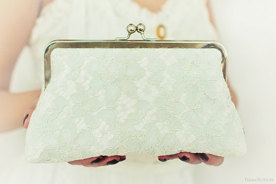 Mariage - Bridal Wedding Purse Sea Breeze Pale Blue and Ivory Lace Clear Water White Large Size Purse Clutch Bag Ready to Ship