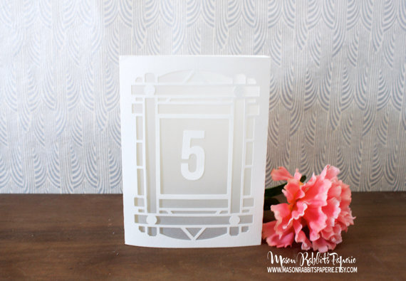 Wedding - New Art Deco / Art Nouveau Luminary Wedding Table Numbers. Wedding Table Markers, Luminaries, Wedding Decor