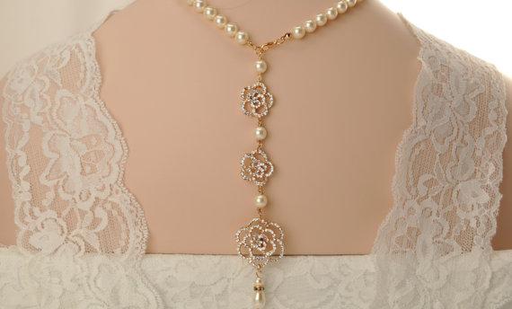 Mariage - Bridal back drop necklace-Rose gold Swarovski crystal bridal backdrop necklace-Wedding necklace-Wedding jewelry-Rose gold bridal necklace