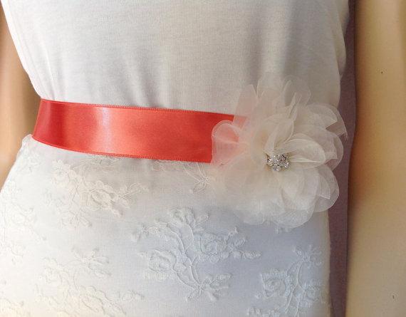 Mariage - Sash, Bridal Wedding Dress Sash Belt, ivory crystal - rhinestone beaded, bridal gown sash, 3 cm silk satin ribbon, bride belt, coral belt