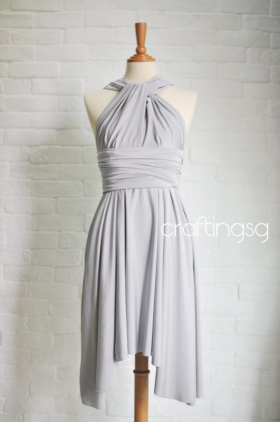 Mariage - Bridesmaid Dress Infinity Dress Light Grey/Silver Knee Length Wrap Convertible Dress Wedding Dress