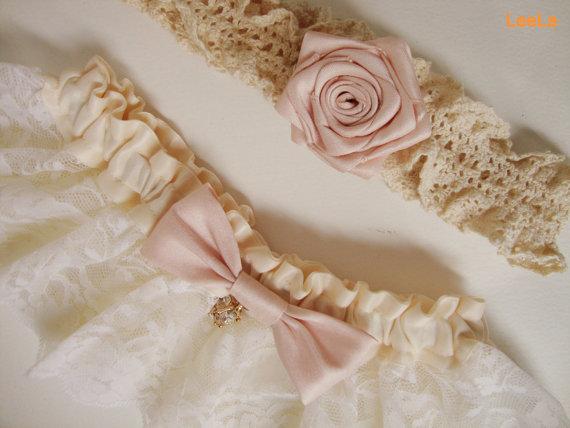 زفاف - Customized your own bridal rustic vintage inspired wedding garter / pink blush garter / lace keepsake