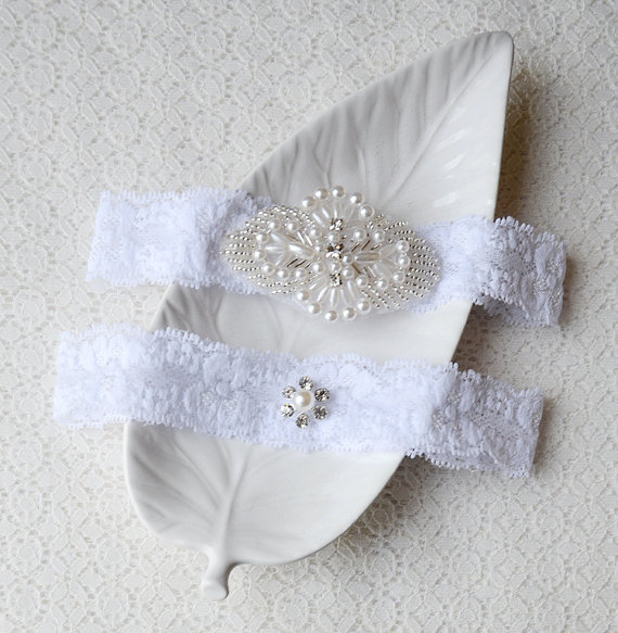 Hochzeit - Wedding Garter Bridal Garter Set White Lace Garter Belt Rhinestone Crystal Garter Belt Beach Wedding GR089LX