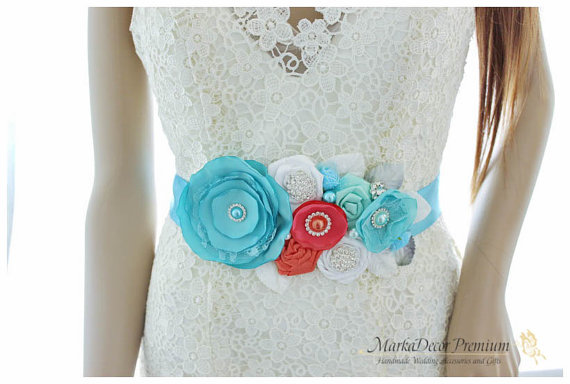 Свадьба - READY TO SHIP Bridal Sash / Beach Wedding Belt in Sea Foam Blue, Turquoise, Coral and White with Brooches, Glass Beads Handmade Flowers