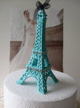 Wedding Cake Topper Turquoise Blue Eiffel Tower MEASURES 5 & 1/2 ...