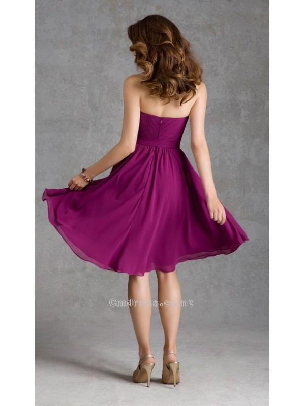 Boda - A line Sweetheart Chiffon Knee Length Bridesmaid DressesSKU: BM000170-ML
