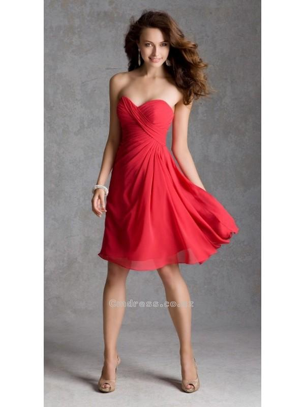 Wedding - A line Sweetheart Knee Length Chiffon Bridesmaid DressesSKU: BM000168-ML