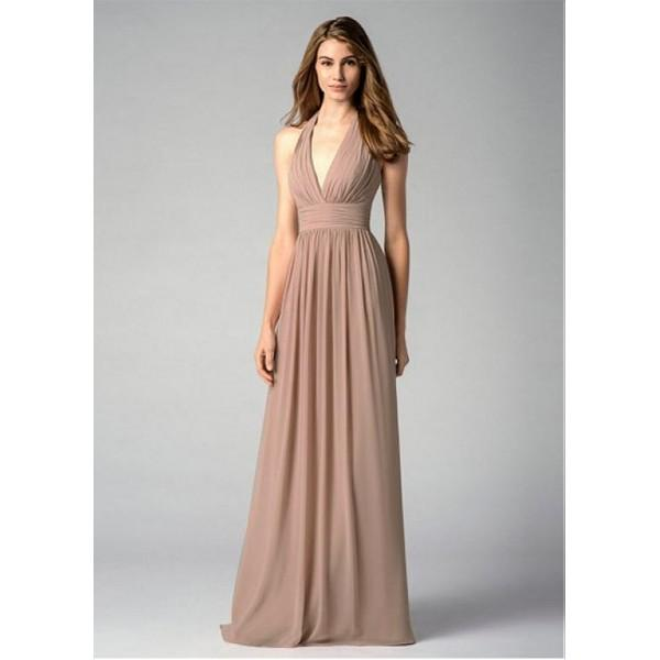 Mariage - Chic Chiffon Halter Neckline Floor-length A-line Bridesmaid Dress