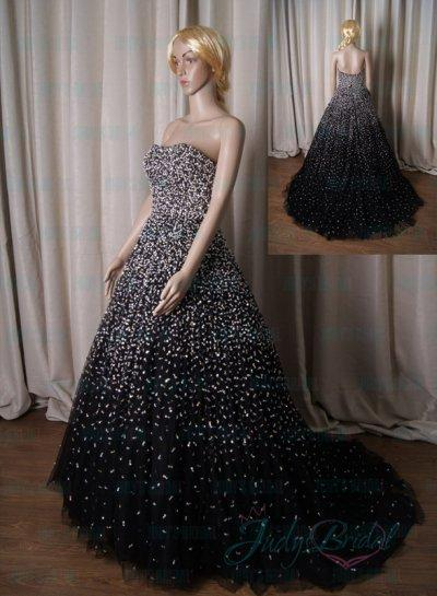 Lj211 Luxury Sparkles Stars Black Evening Celebrity Prom Gown
