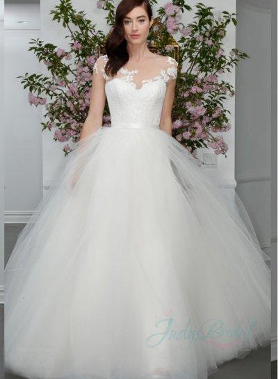 JW16008 Latest Sheer Top Princess Tulle Ball Gown Wedding Dress ...