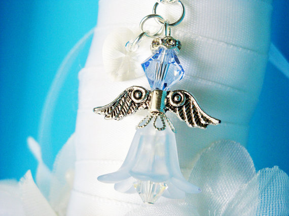 Hochzeit - Something Blue Angel Bridal Bouquet Charm