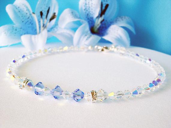 Wedding - Something Blue Anklet Swarovski Lt. Sapphire Blue Crystal Ankle Bracelet Wedding Jewelry
