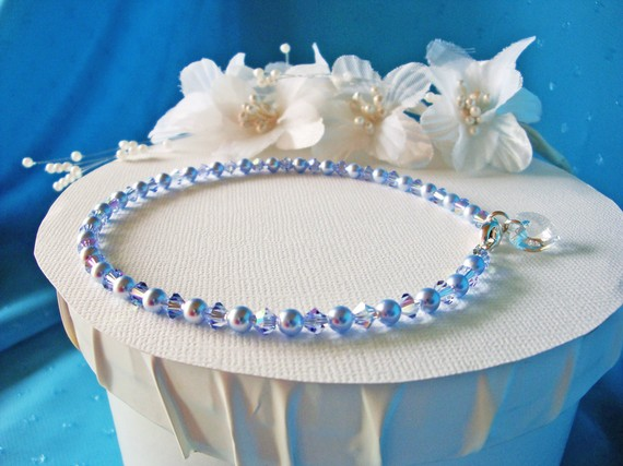 Свадьба - Something Blue Anklet Swarovski Crystal Wedding Jewelry Ankle Bracelet