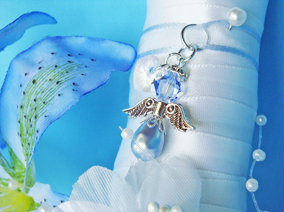Mariage - Something Blue Wedding Bouquet Charm Swarovski Crystal and Pearl Angel Bridal Gift